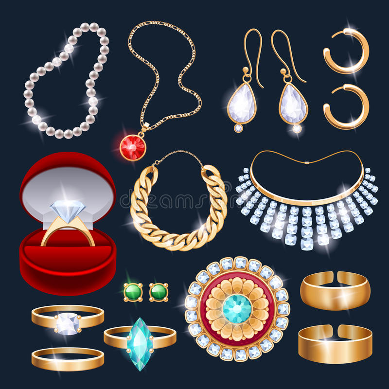 REalistic jewelry accessories icons set. Necklace bracelet gold chain diamond pearl earrings pendant rings vector illustration stock illustration
