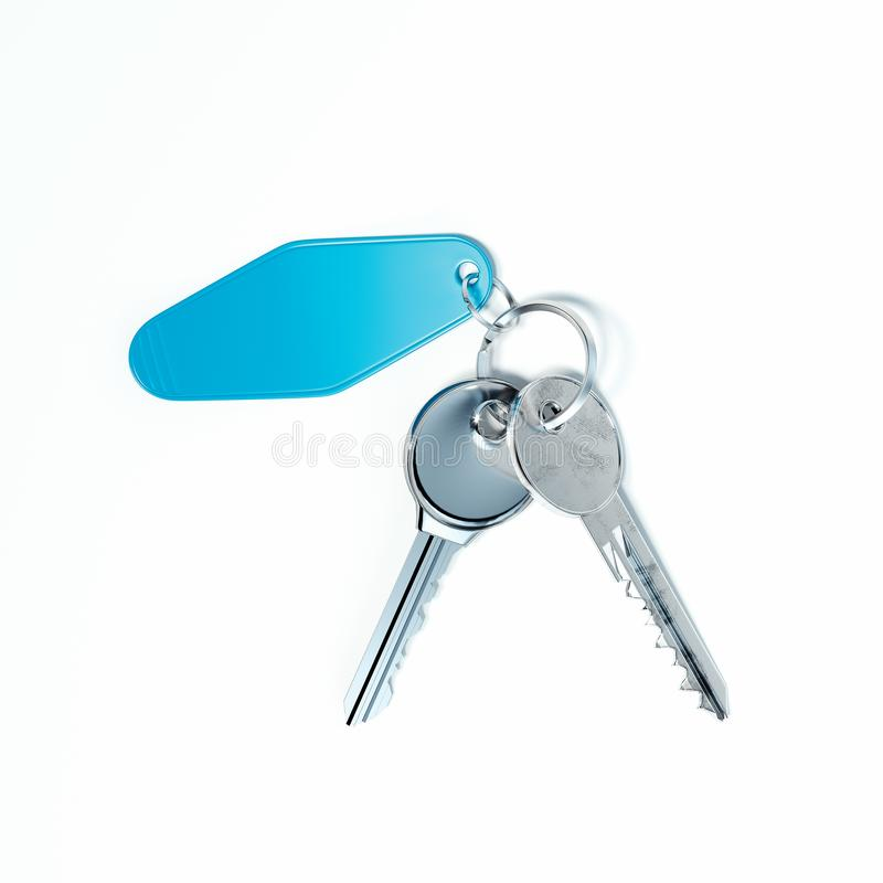 Realistic keys close up isolated on white background. 3d rendering. royalty free illustration