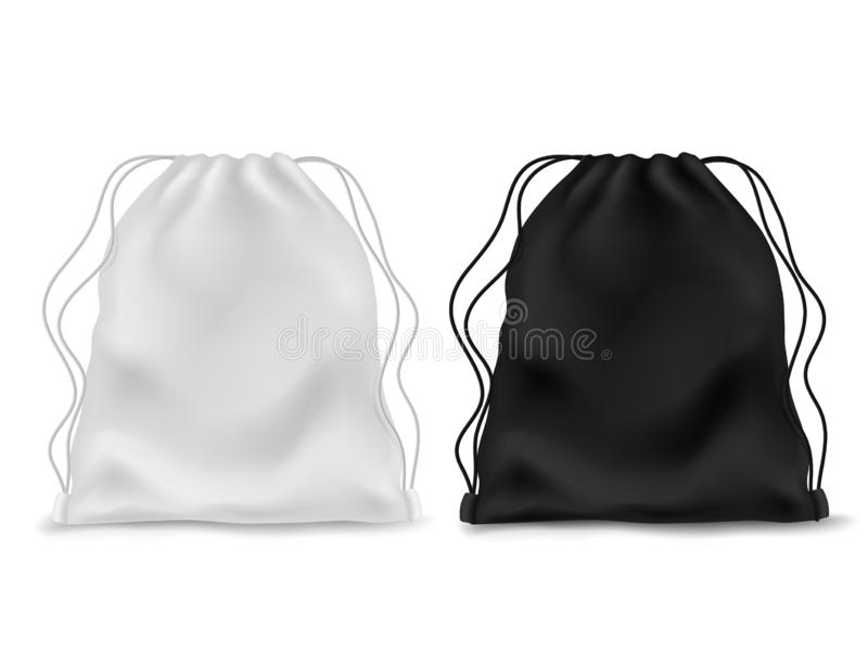 Realistic knapsack. Black white blank backpack. Sports bag, school textile rucksack, pack pouch accessory with ropes vector illustration