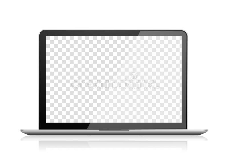 Realistic laptop front view. Notebook empty screen. Realistic laptop front view. Notebook computer with empty screen. Portable PC blank screen. Transparent vector illustration