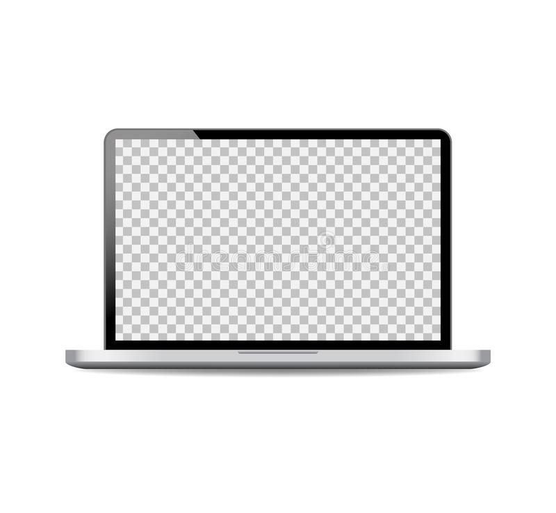 Realistic laptop mockup with open screen.Black computer laptop on isolated background.vector royalty free illustration