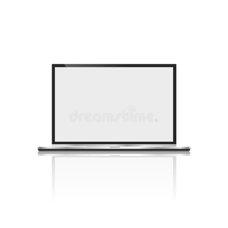 Realistic laptop, on white background. computer notebook with empty screen. blank copy space on modern mobile royalty free illustration