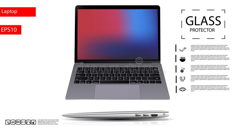 The realistic laptop on a white background. Vector illustration.eps10 vector illustration