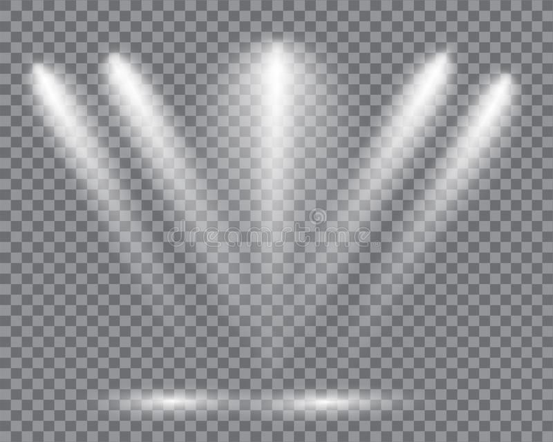 Realistic led lights from projector. Bright lighting with spotlights. Photometric effects with transparency royalty free illustration
