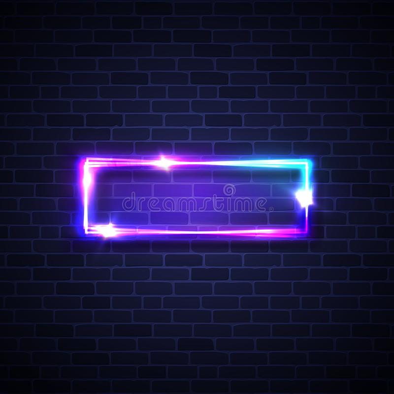 Realistic led neon lights frame. Rectangle signage. With glowing. Electric bright 3d street sign banner on dark brick background wall. Abstract square lamp with royalty free illustration
