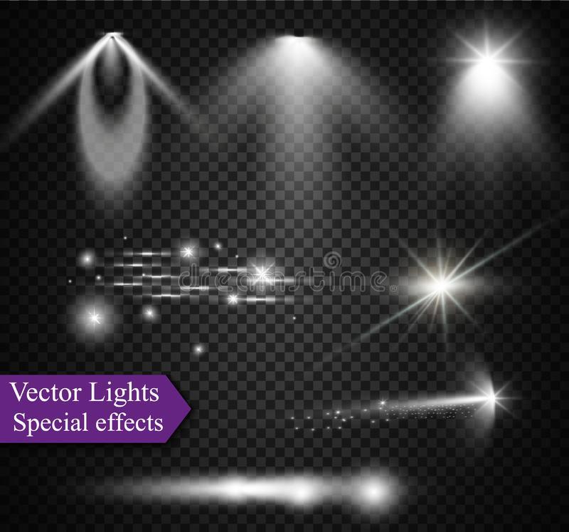 Realistic Lens Flare Elements Collection. Light Effect Transparent Design. Vector illustration. stock illustration