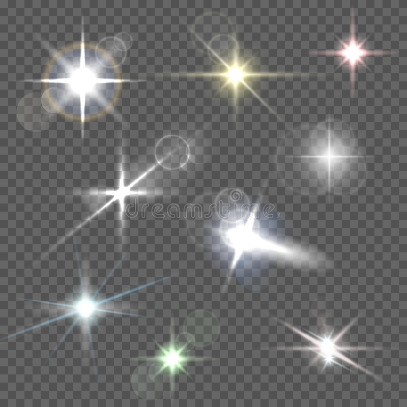 Realistic lens flares star lights and glow white elements on transparent background vector illustration royalty free illustration