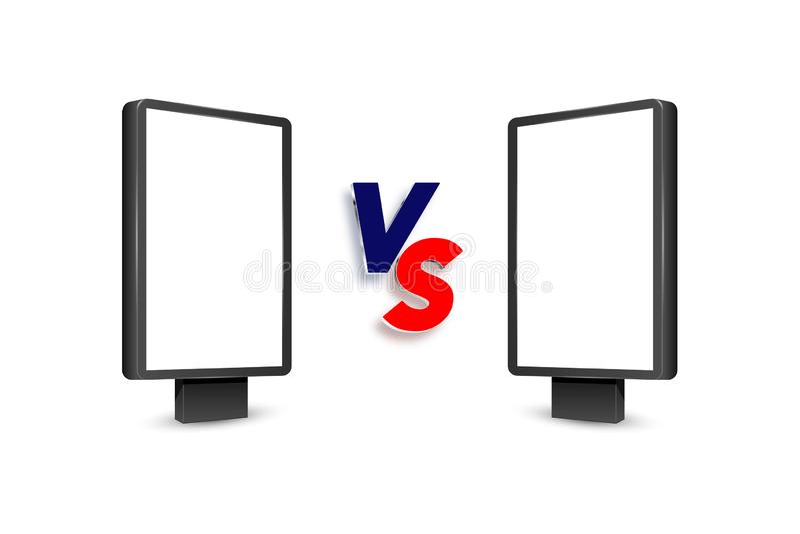 Realistic light box template. Versus VS background stock photo