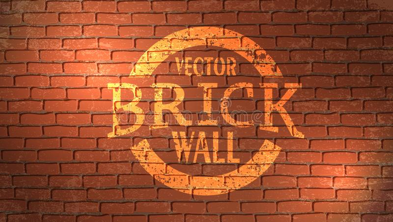 Realistic light brown brick wall background. Distressed overlay texture of old brickwork, grunge abstract halftone vector illustration