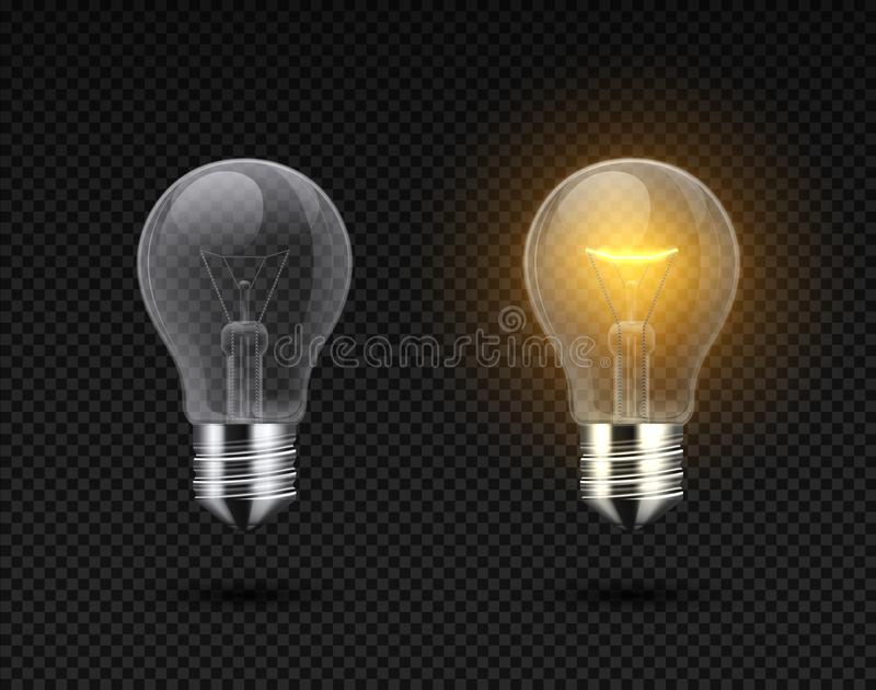 Realistic light bulb. Glowing yellow and white incandescent filament lamps, electricity on and of template. Vector light stock illustration
