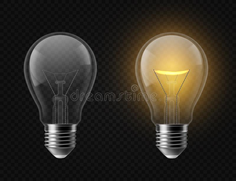 Realistic light bulb. Turned off and glowing isolated lamps. Creative idea and innovation lightbulb vector 3d business vector illustration