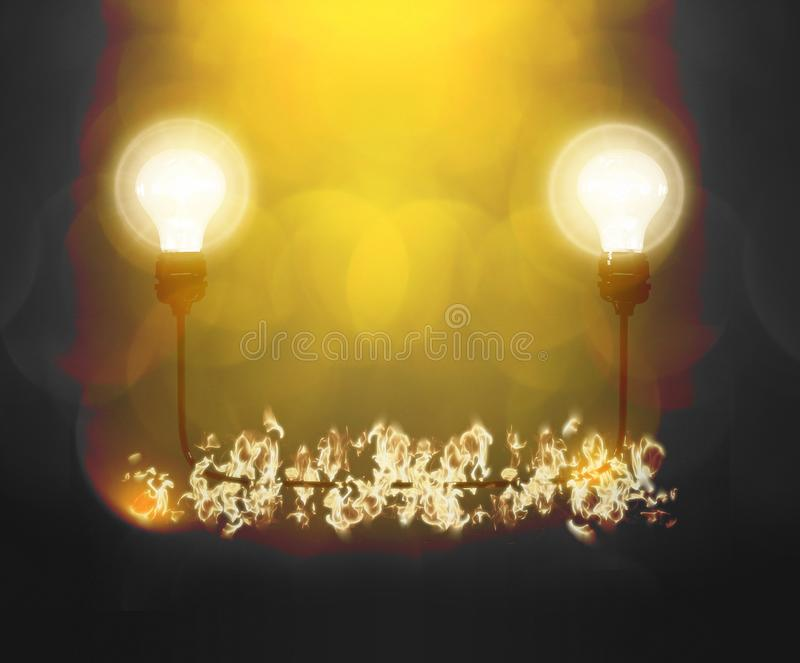 Realistic light bulbs with wire on the black background with burning fire. Lamps light in the fire. Electric bulb. Glowing light stock photography