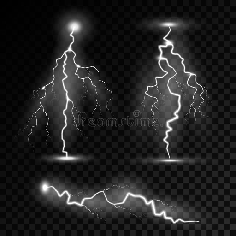 Realistic Lightning Bolts With Transparency Blend Stock Vector
