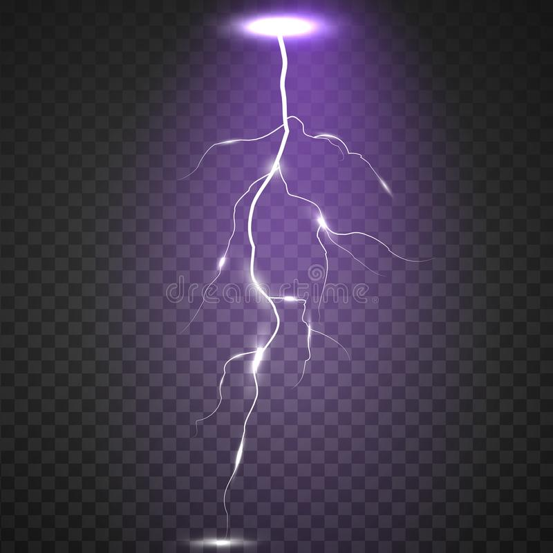 Realistic Lightning On Checkered Background Bright Electric And