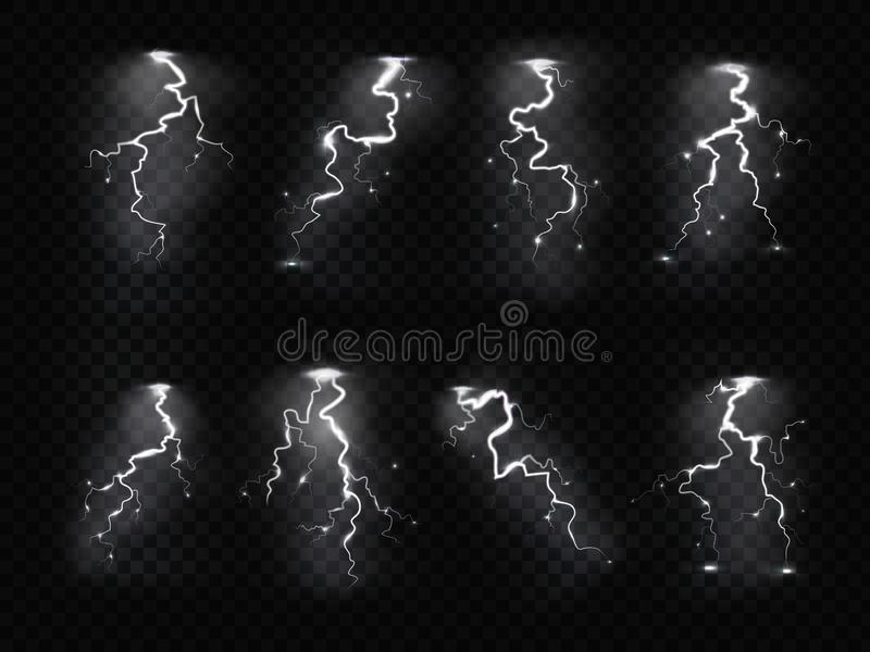 Realistic lightning. Thunder storm electricity blue sky blitz flash stormy thunderstorm rainstorm. Lightnings set. Realistic lightning. Thunder storm electricity royalty free illustration