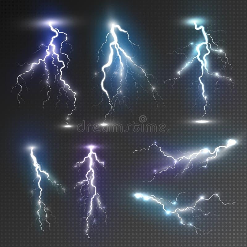 Realistic lightnings set royalty free illustration