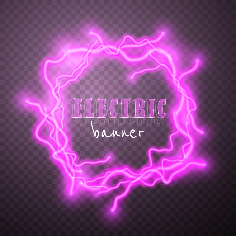 Realistic lightnings with transparency for design. Digital effect of glowing, electrical discharge, design decoration. Vector. Illustration royalty free illustration
