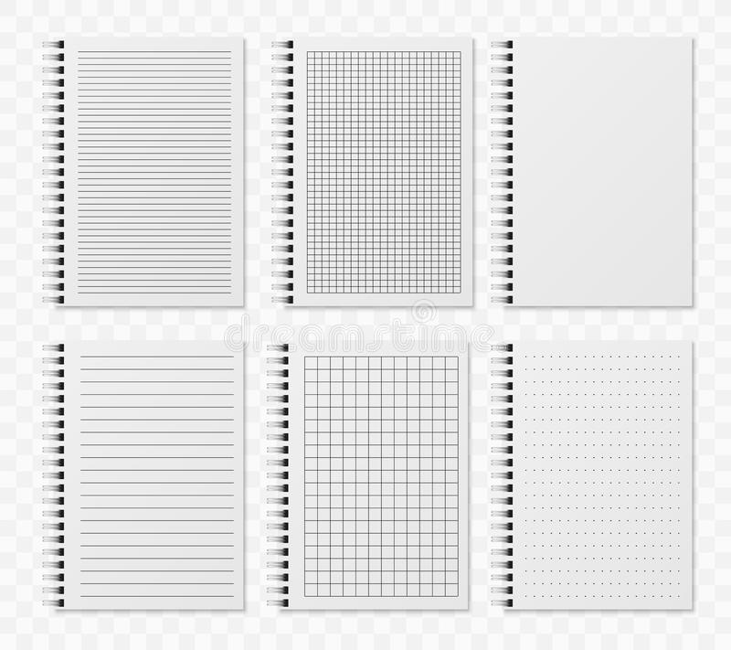 Realistic line notobooks. Blank padded diary sketchbook with dots and lines for writing and paiting vector templates royalty free illustration
