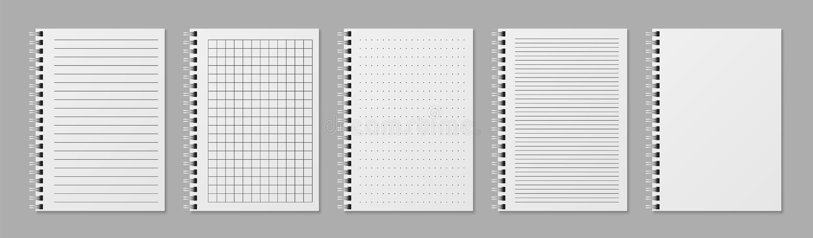 Realistic line notobooks. Blank padded sketchbook with dots and lines for writing vector templates stock illustration