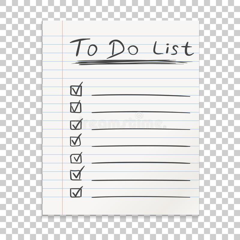 Realistic line paper note. To do list icon with hand drawn text. stock illustration