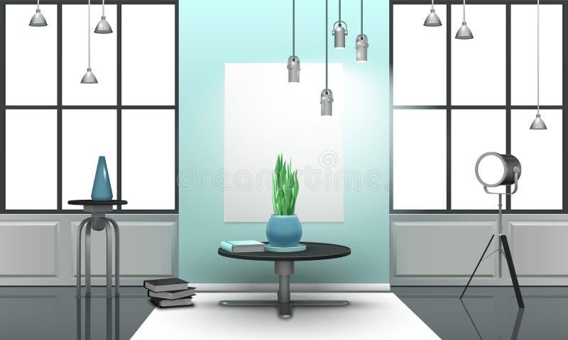 Realistic Loft Interior In Light Tones royalty free illustration
