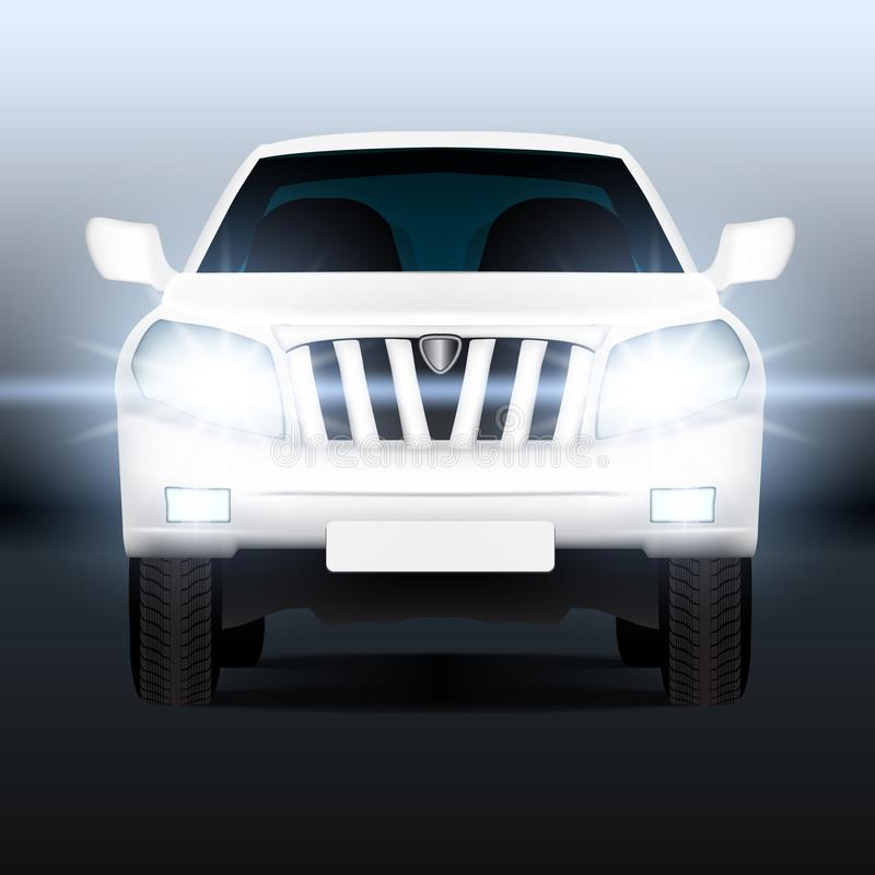 Realistic Luxury SUV Car Close-up Banner Template stock illustration