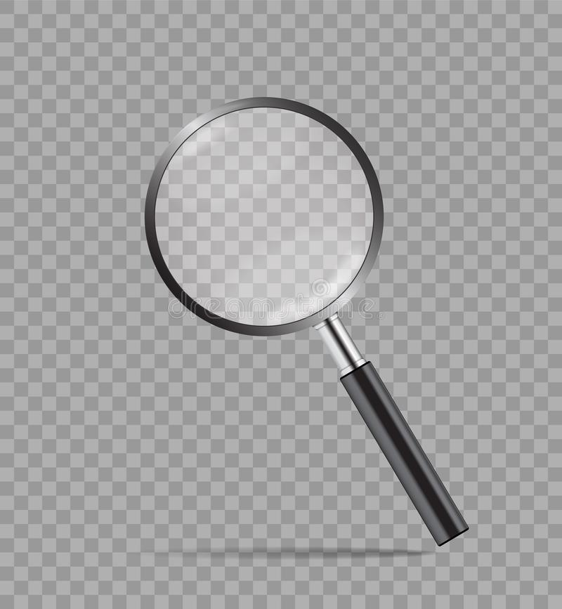 Realistic magnify glass in mockup style on transparent background. Detective concept loupe with zoom. Magnifying glass icon. Black. Loupe for search. vector vector illustration