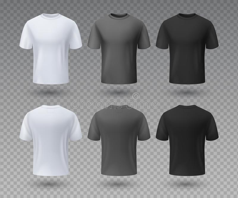 Realistic male t-shirt. White and black mockup, front and back view 3D isolated design template. Vector sport wear and royalty free illustration
