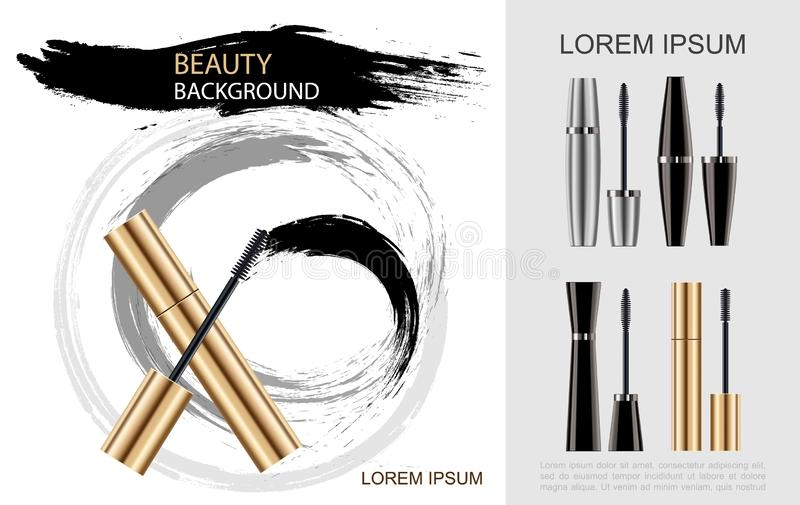 Realistic Mascara Brush Concept royalty free illustration