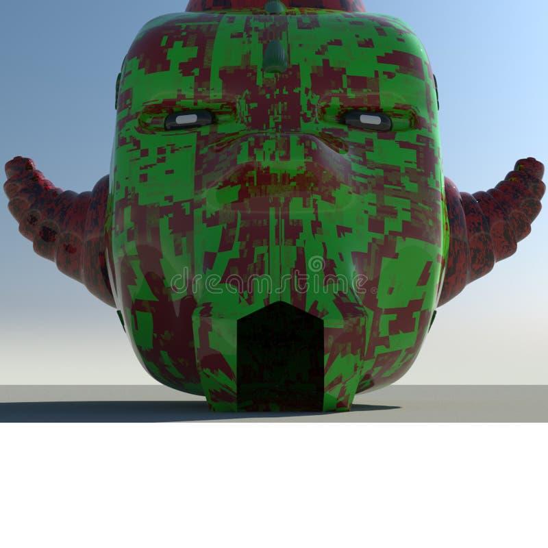 The Realistic Mask. Realization of a realistic futuristic mashera made in 3d stock illustration