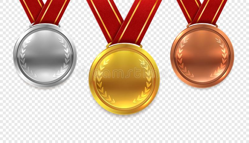 Realistic medal set. Gold bronze and silver medals with red ribbons isolated on transparent background vector collection stock illustration