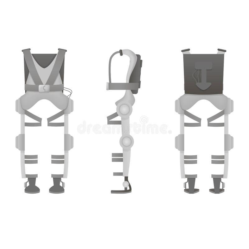 Realistic medical exoskeleton. Exosuit. Three view. Vector. Realistic medical exoskeleton. Exosuit. Three view Vector illustration royalty free illustration