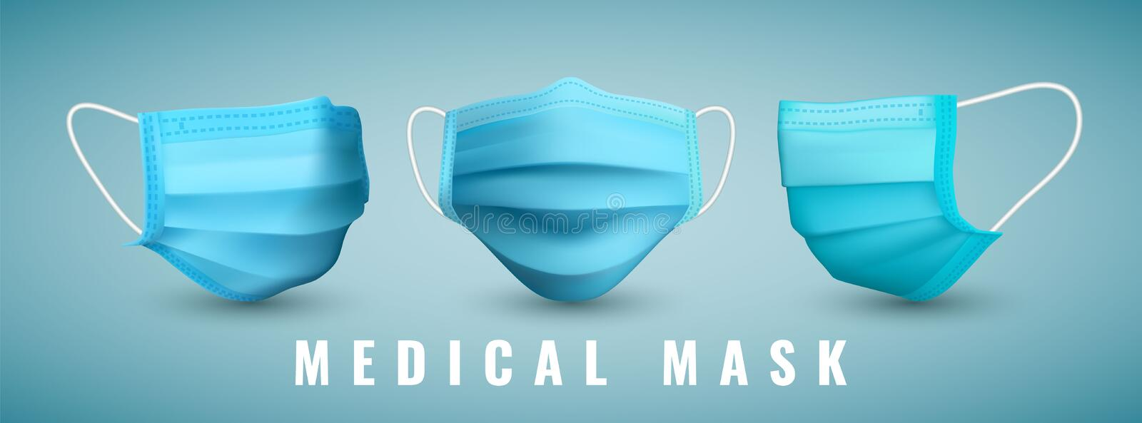 Realistic medical face mask. Details 3d medical mask. Vector illustration.  royalty free illustration