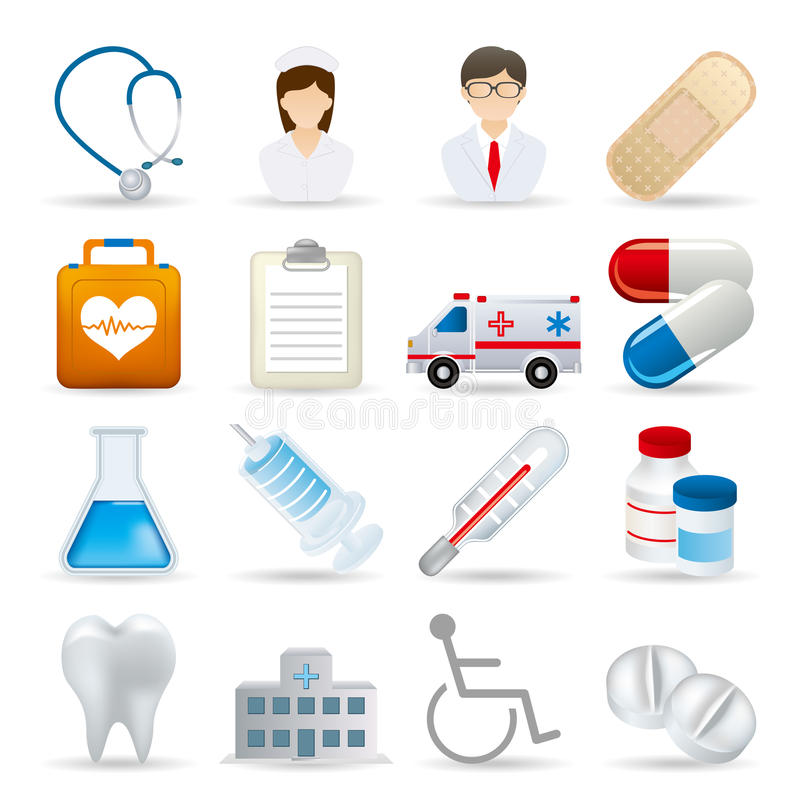 Realistic Medical Icons Set Stock Photography