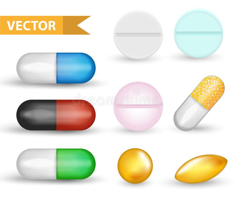 Realistic Medical pill capsule set. 3d drugs and tablets collection. Medicines Antibiotics, vinamines, fish oils. Isolated on white background. Vector royalty free illustration