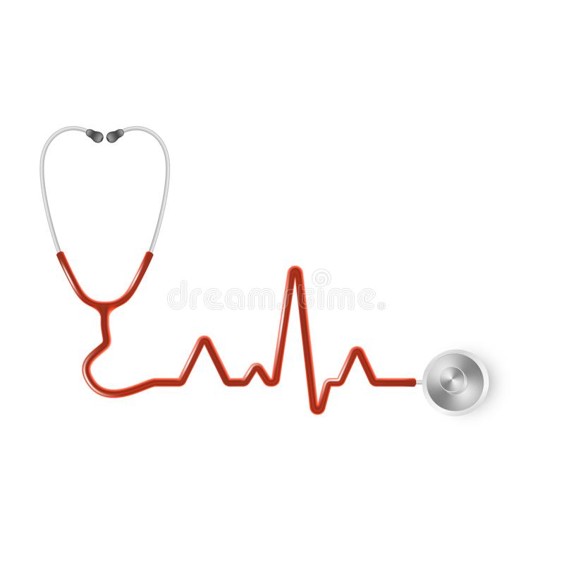 Realistic medical stethoscope. Medical equipment, medicine template. EPS 10 stock illustration