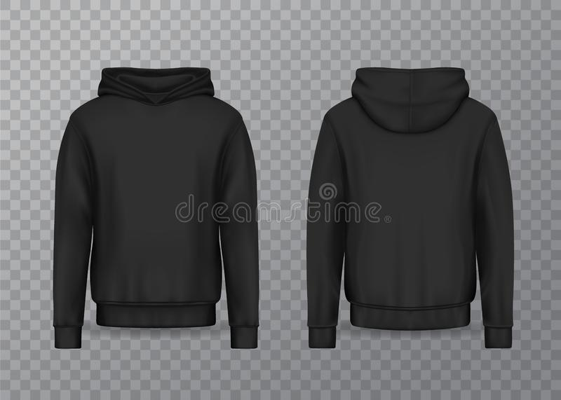 Realistic men hoodie or black 3d hoody, sweatshirt vector illustration