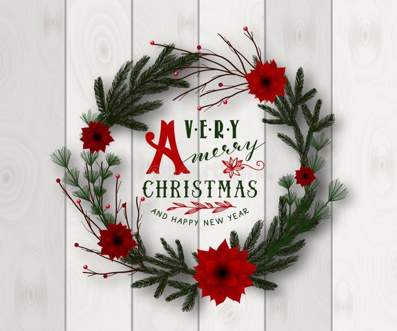Realistic Merry Christmas wreath vector illustration on wood background stock illustration