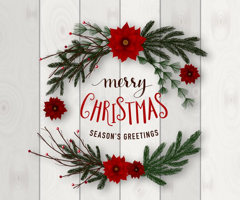Realistic Merry Christmas wreath vector illustration on wood background royalty free illustration