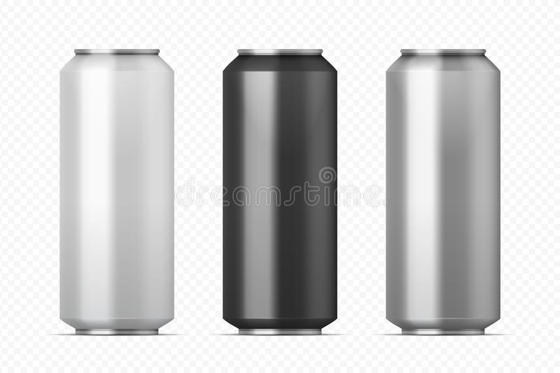 Realistic metal cans. Aluminum beer and lemonade beverage can of different colors. Vector black silver white cans set on vector illustration