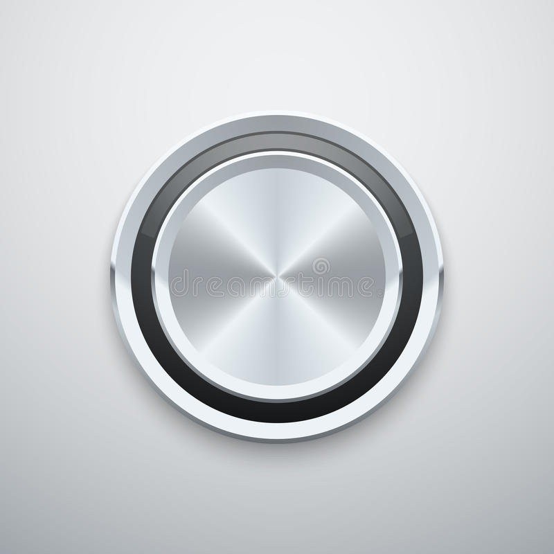 Realistic metal chrome silver steel round vector knob button vector illustration