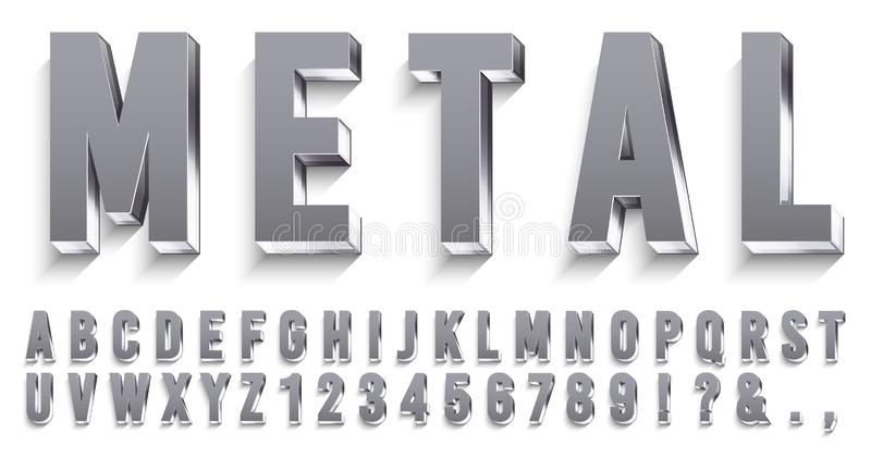 Realistic metal font. Shiny metallic letters with shadows, chrome text and metals alphabet 3D vector set royalty free illustration