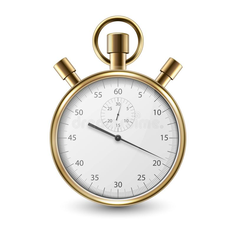 Realistic Metal Golden Classic Stopwatch Icon Closeup Isolated on White Background. Stop-watch Design Template. Sport vector illustration