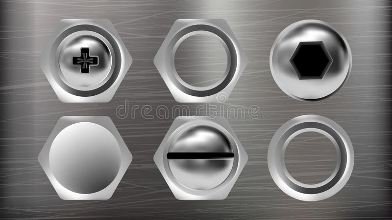 Realistic Metal Head Of Screw And Bolt Set Vector. Collection Of Different Ironware Type Detail Screw And Stainless Rivet. Top View  On Silver Colored royalty free illustration