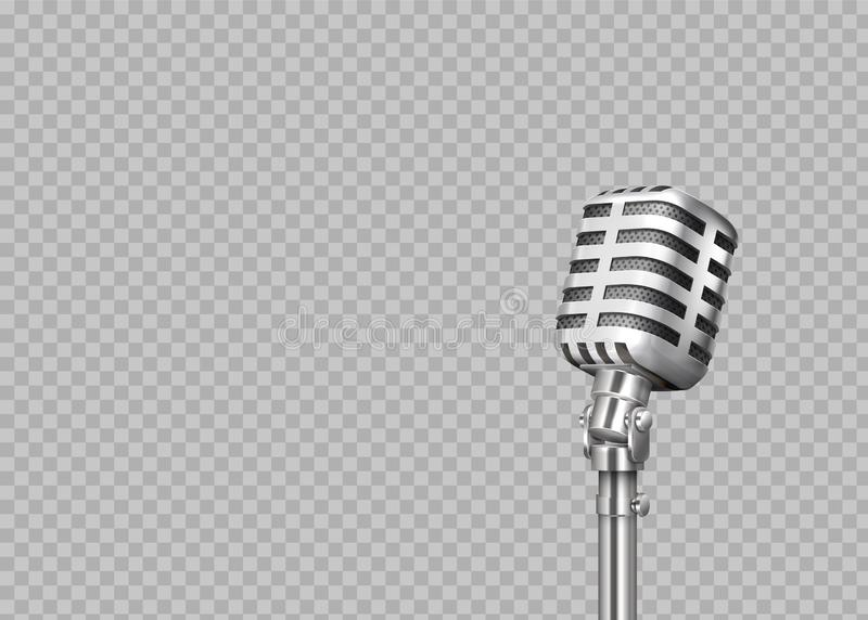 Realistic microphone. 3D professional metal mics on transparent background. Stand-up and blogging equipment. Vector stock illustration