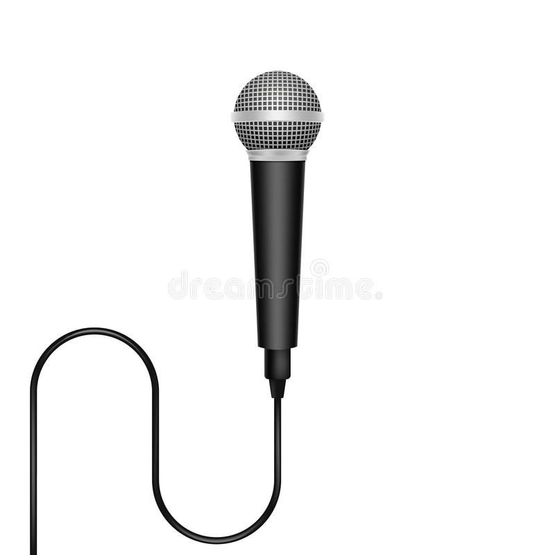 Realistic microphone isolated on white background. Vector illustration. stock illustration