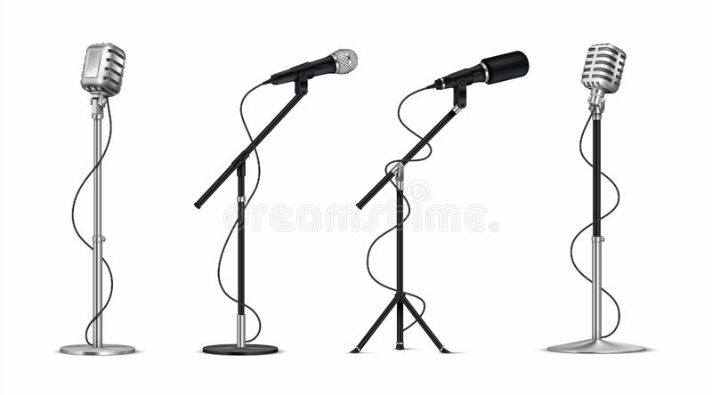 Realistic microphones. 3D professional metal mics with wire on holder, stand-up and blogging equipment. Vector vintage vector illustration