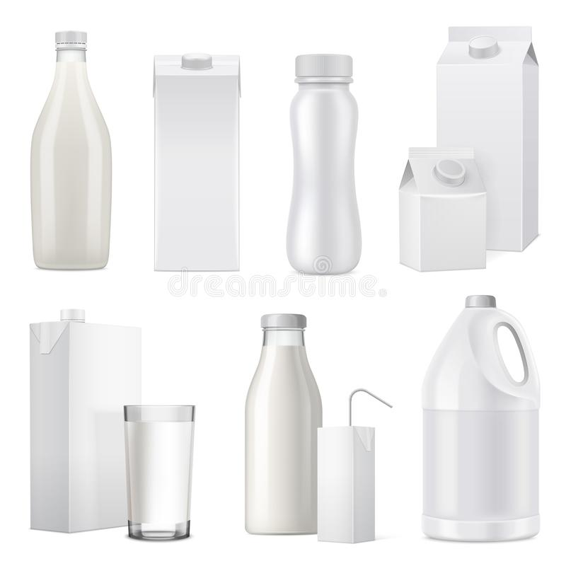 Realistic Milk Bottle Package Icon Set. Isolated white realistic milk bottle package icon set from glass plastic and paper vector illustration vector illustration