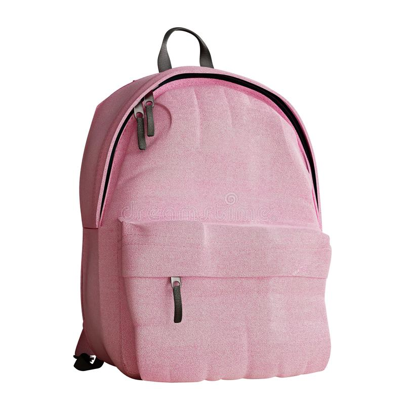 Realistic millennial pink backpack isolated on white, close up, mock-up stock photography