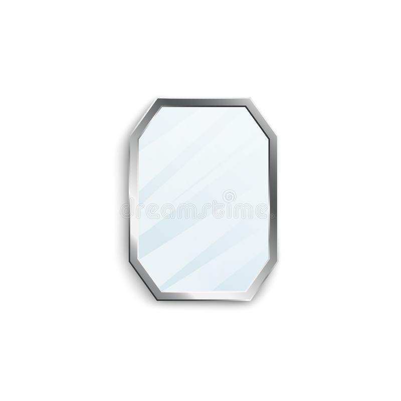 Realistic mirror with silver hexagon frame isolated on white background. vector illustration
